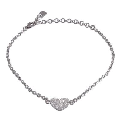 Heart-Shaped Sterling Silver Pendant Bracelet from Peru