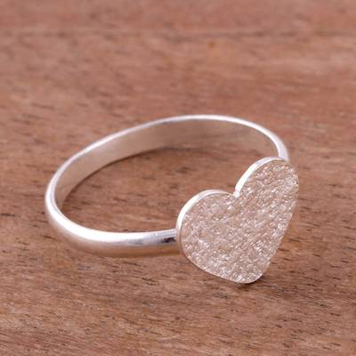 Heart-Shaped Sterling Silver Cocktail Ring from Peru