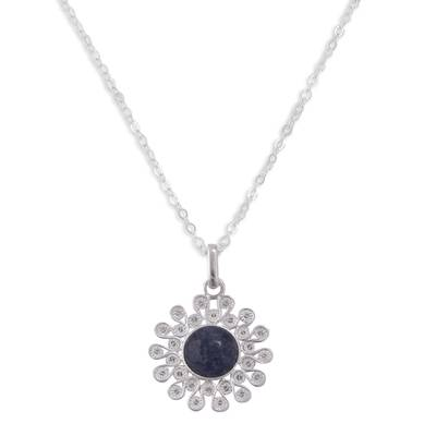 Sodalite and Silver Filigree Pendant Necklace from Peru