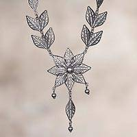 Sterling silver filigree pendant necklace, 'Fabled Flower' - Floral Sterling Silver Filigree Pendant Necklace from Peru