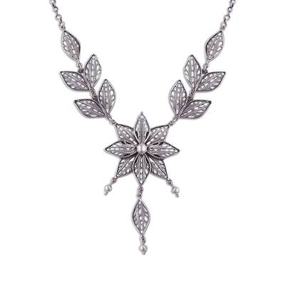 Floral Sterling Silver Filigree Pendant Necklace from Peru
