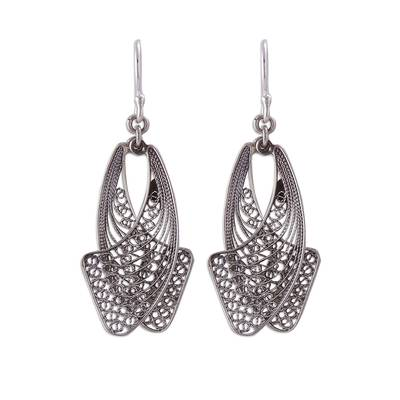Handcrafted Sterling Silver Filigree Earrings from Peru