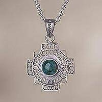 Chrysocolla filigree pendant necklace, 'Green Valley Chakana' - Chrysocolla Chakana Cross Filigree Necklace from Peru