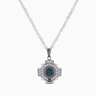 Chrysocolla Chakana Cross Filigree Necklace from Peru