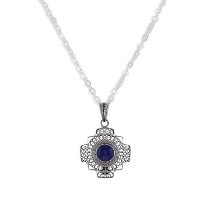 Sodalite Chakana Cross Filigree Pendant Necklace from Peru