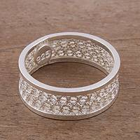 Sterling silver filigree band ring, 'Imperial Elegance' - Handcrafted Sterling Silver Filigree Band Ring from Peru