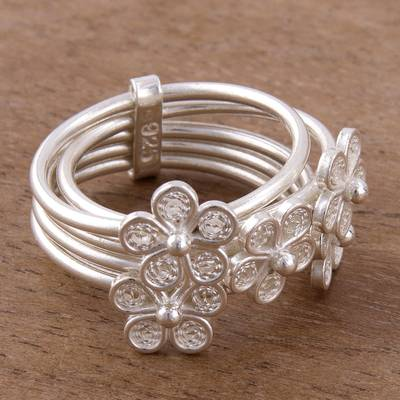 Sterling silver filigree cocktail ring, Orbiting Flowers