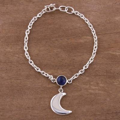 Sodalite charm bracelet, 'Andean Midnight' - Moon-Themed Sodalite Charm Bracelet from Peru
