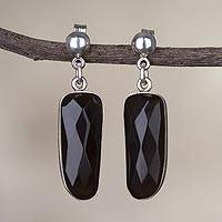 Obsidian dangle earrings, 'Mysterious Black' - Natural Black Obsidian Dangle Earrings from Peru