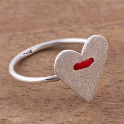 Silver cocktail ring, 'Love Line' - Handcrafted Brushed 950 Silver Heart Ring from Peru