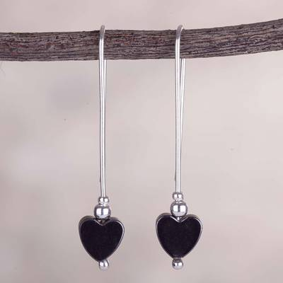 Sterling silver drop earrings, 'Pathway to My Heart' - Modern Hematite Heart Earrings Crafted of Sterling Silver