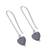 Sterling silver drop earrings, 'Pathway to My Heart' - Modern Hematite Heart Earrings Crafted of Sterling Silver (image 2c) thumbail