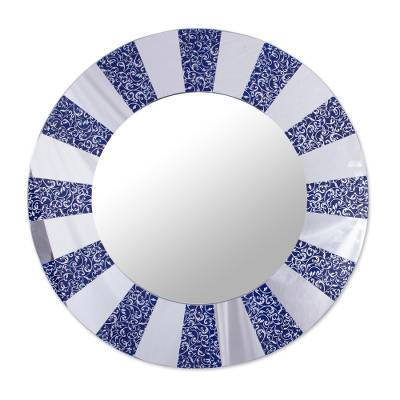 Circular Glass Wall Mirror in Blue from Peru