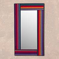 Wood mirror, 'Reflection of the Andes' - Multicolored Fabric Accent Wood Wall Mirror from Peru