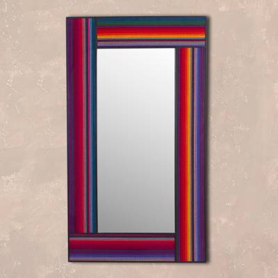 Fabric accent wall mirror, 'Reflection of the Andes' - Multicolored Fabric Accent Wood Wall Mirror from Peru