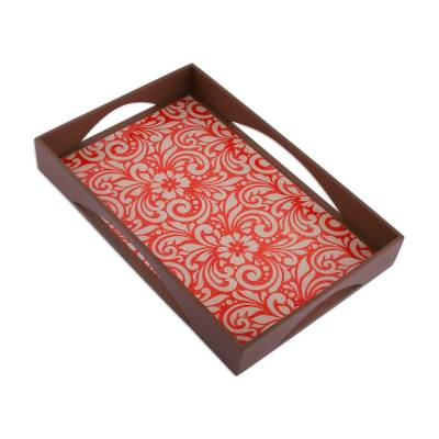 Floral Reverse Painted Glass Tray from Peru
