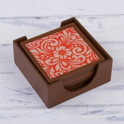 Reverse-painted glass coasters, 'Orange Bouquet' (set of 6) - Floral Reverse-Painted Glass Coasters (Set of 6) from Peru