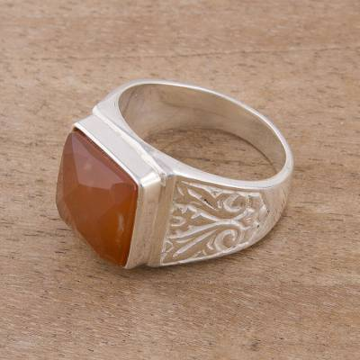 silver ring settings 10x14 - Square Agate and Sterling Silver Cocktail Ring from Peru