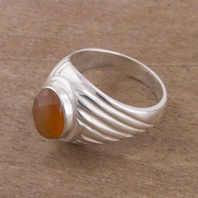 silver ring style eso - Oval Agate and Sterling Silver Cocktail Ring from Peru