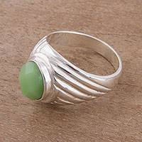Aventurine cocktail ring, 'Glittering Power' - Oval Aventurine and Sterling Silver Cocktail Ring from Peru