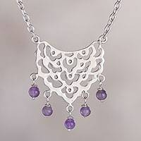 Amethyst pendant necklace, 'Guardian of Violet Light' - Beaded Amethyst Pendant Necklace from Peru