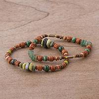 Serpentine, agate, and ceramic beaded stretch bracelets, 'Wind and Earth' (pair) - Two Ceramic Beaded Bracelets with Agate and Serpentine