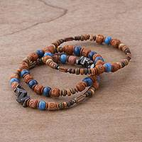 Hematite and ceramic beaded stretch bracelets, 'Andean Eyes' (set of 3) - Three Hematite and Ceramic Beaded Bracelets in Earth Tones