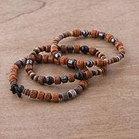 Featured review for Onyx, hematite and ceramic beaded stretch bracelets, Inca Bliss (set of 3)