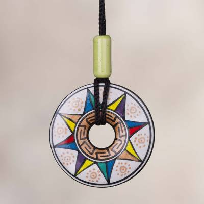 Ceramic pendant necklace, 'Sun of Many Colors' - Ceramic Pendant Necklace with Multicolored Sun from Peru