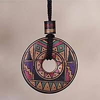 Ceramic pendant necklace, 'Sun Princess' - Peruvian Handmade Ceramic Pendant Necklace in Jewel Tones