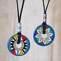 Ceramic pendant necklaces, 'Evening Fiesta' (pair) - Pair of Blue and White Geometric Ceramic Pendant Necklaces