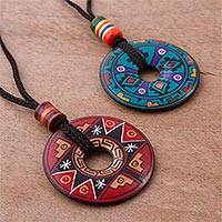 Ceramic pendant necklaces, 'Sun and Rain' (pair) - Pair of Red and Blue Ceramic Pendant Necklaces from Peru