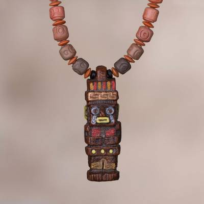 Ceramic beaded pendant necklace, Ancient Order