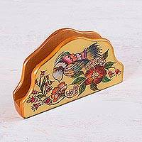 Reverse painted glass napkin holder, 'Floral Nectar' - Bird-Themed Reverse Painted Glass Napkin Holder from Peru