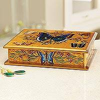 Reverse painted glass jewelry box, 'Butterfly Court' - Reverse Painted Glass on Wood Jewelry Box with Butterflies