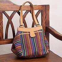 Leather accent wool blend shoulder bag, 'Incan Paths' - Striped Leather Accent Wool Shoulder Bag from Peru