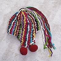 Alpaca blend chullo hat, 'Colorful Carnival' - Hand-Crocheted Fringed Alpaca Blend Chullo Hat from Peru