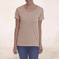 100% organic cotton t-shirt, 'Salute to Mother Earth' - 100% Organic Cotton Beige Short Sleeved T-Shirt from Peru