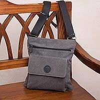 Leather accent cotton messenger bag, 'Ancient Traveler' - Leather Accent Cotton Messenger Bag in Slate from Peru
