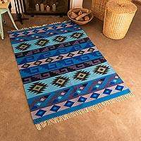 Wool area rug, 'Incan Empire' (4x6) - Handwoven Wool Area Rug in Blue (4x6) from Peru