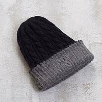 Reversible 100% alpaca hat, 'Warm and Cozy' - Peruvian 100% Alpaca Reversible Black and Grey Ribbed Hat