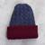 Reversible 100% alpaca hat, 'Warm and Snug' - Cranberry and Blue 100% Alpaca Reversible Knit Hat from Peru thumbail