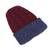 Reversible 100% alpaca hat, 'Warm and Snug' - Cranberry and Blue 100% Alpaca Reversible Knit Hat from Peru (image 2h) thumbail