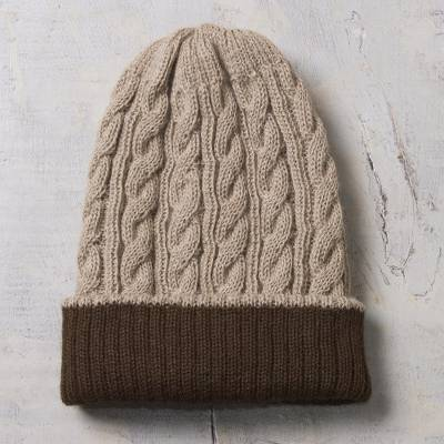 Reversible 100% alpaca hat, 'Warm and Comfy' - Peruvian Artisan Made 100% Alpaca Brown Reversible Cable Hat