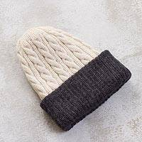 Reversible 100% alpaca hat, 'Warm and Contented' - 100% Alpaca White and Grey Reversible Knit Hat from Peru