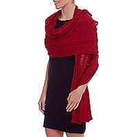 100% baby alpaca shawl, 'Lady in Red' - Peruvian 100% Baby Alpaca Knit Shawl in Crimson Red