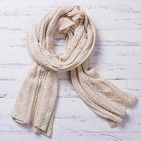 100% baby alpaca scarf, 'Lady in Antique White' - Antique White 100% Baby Alpaca Knit Scarf from Peru