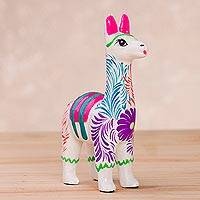 Ceramic figurine, 'Floral Llama in White' - Hand-Painted Floral Llama Figurine in White from Peru
