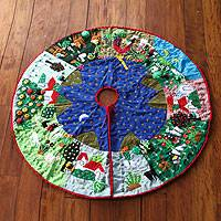 Applique Christmas tree skirt,
