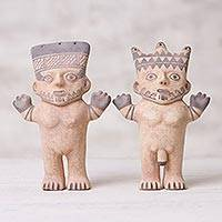 Ceramic sculptures, 'Chancay Duality' (pair) - Male and Female Chancay Ceramic Replica Sculptures from Peru